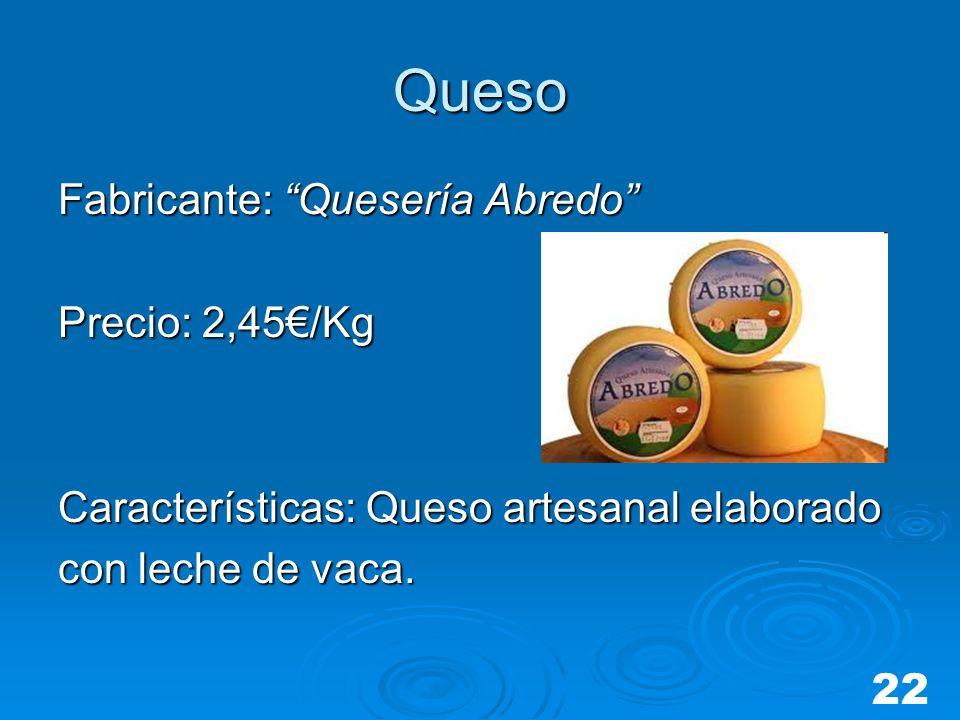 Queso Fabricante: Quesería Abredo Precio: 2,45/Kg Características: Queso artesanal elaborado con leche de vaca. 22