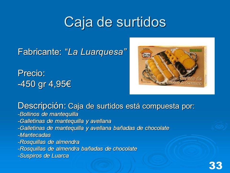 Caja de surtidos Fabricante: La Luarquesa Precio: -450 gr 4,95 Descripción: Caja de surtidos está compuesta por: -Bollinos de mantequilla -Galletinas
