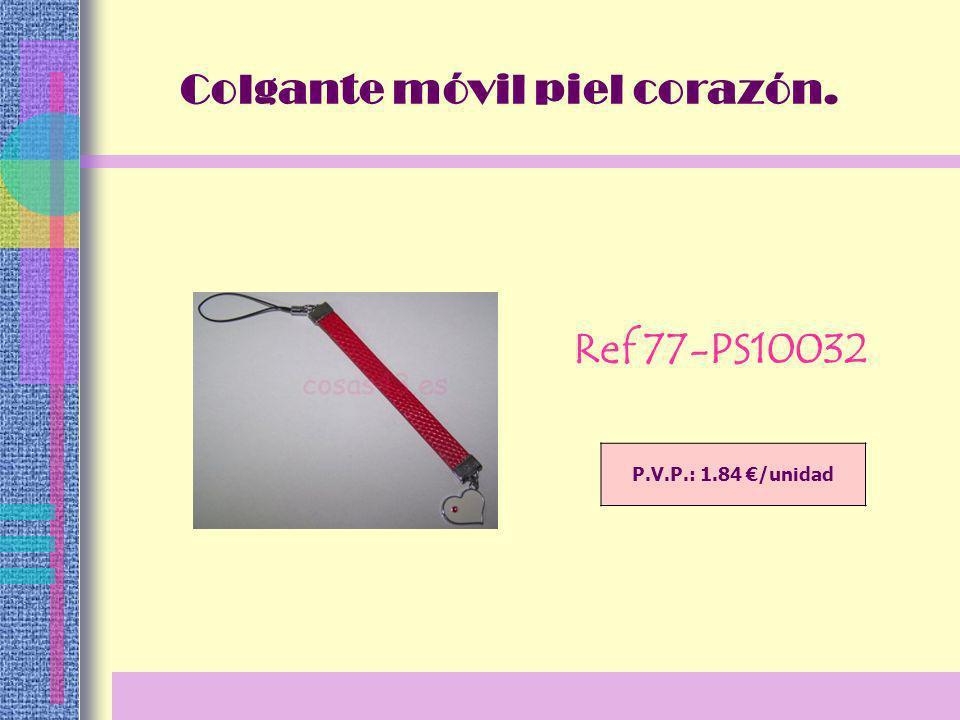 P.V.P.: 1.84 /unidad Colgante móvil piel corazón. Ref 77-PS10032