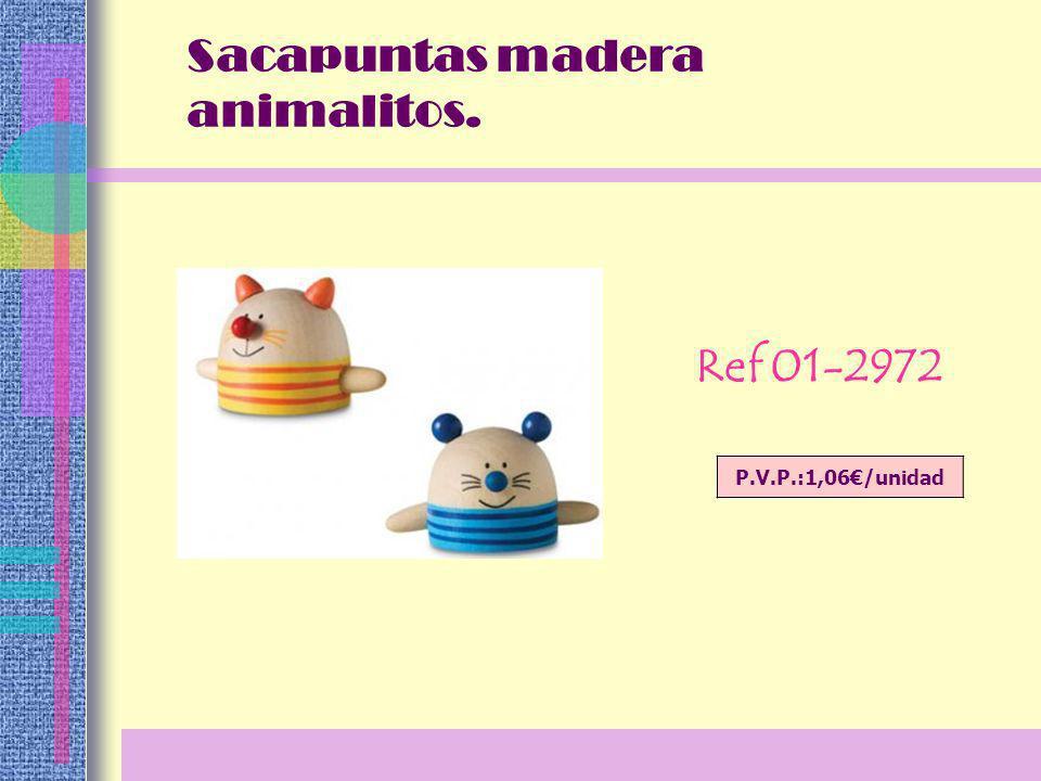 Sacapuntas madera animalitos. Ref 01-2972 P.V.P.:1,06/unidad