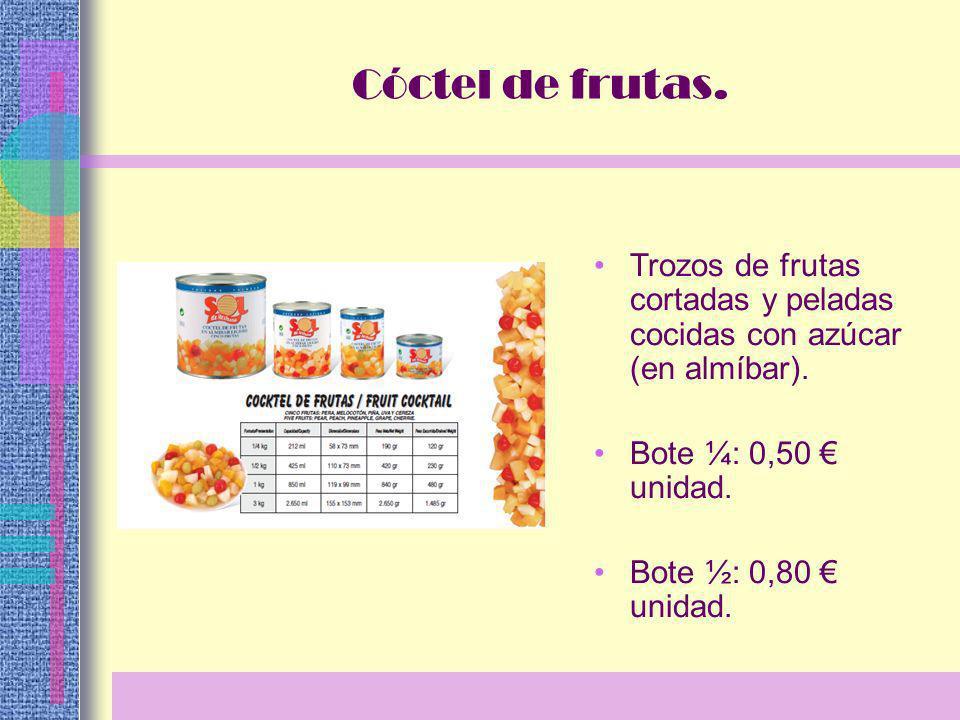 Trozos de frutas cortadas y peladas cocidas con azúcar (en almíbar).