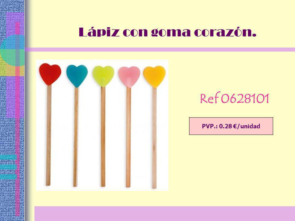 PVP.: 0.28 /unidad Lápiz con goma corazón. Ref 0628101