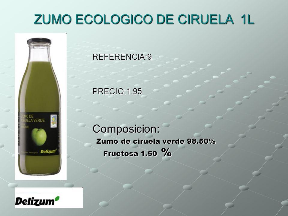 ZUMO ECOLOGICO DE CIRUELA 1L REFERENCIA:9PRECIO:1.95Composicion: Zumo de ciruela verde 98.50% Fructosa 1.50 % Zumo de ciruela verde 98.50% Fructosa 1.