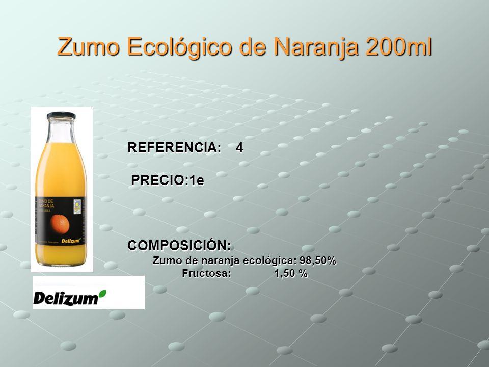 Zumo Ecológico de Naranja 200ml REFERENCIA: 4 PRECIO:1e PRECIO:1eCOMPOSICIÓN: Zumo de naranja ecológica: 98,50% Fructosa: 1,50 %