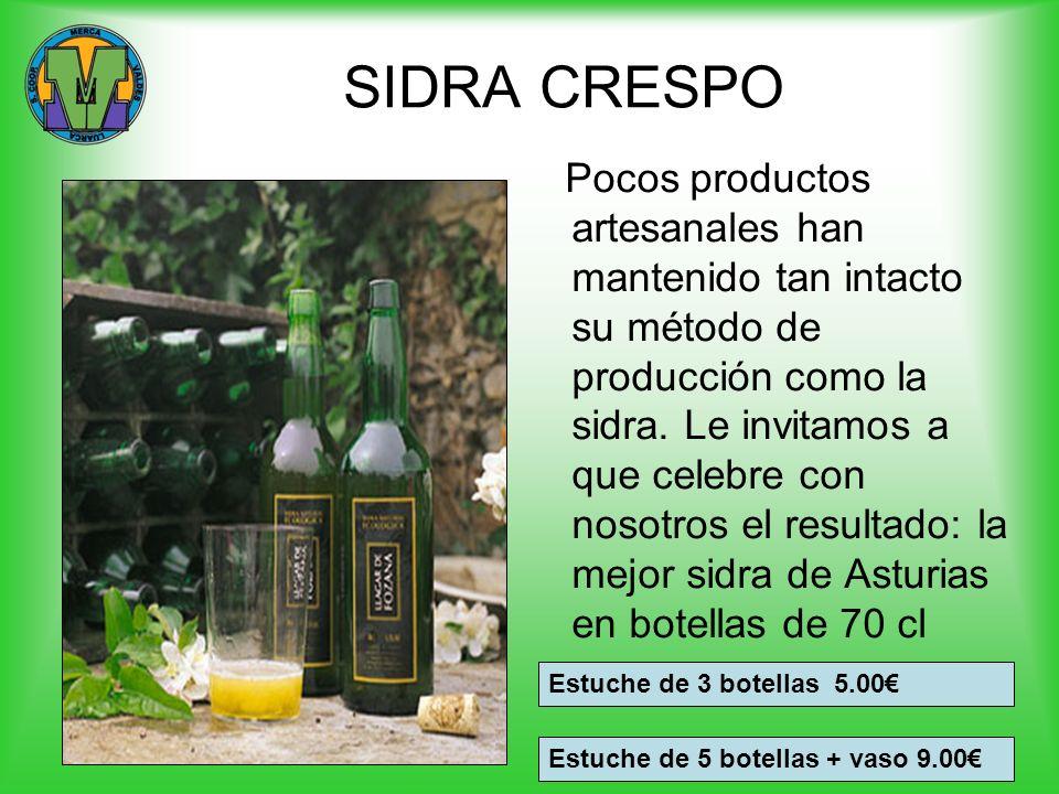 SIDRA CRESPO Pocos productos artesanales han mantenido tan intacto su método de producción como la sidra. Le invitamos a que celebre con nosotros el r