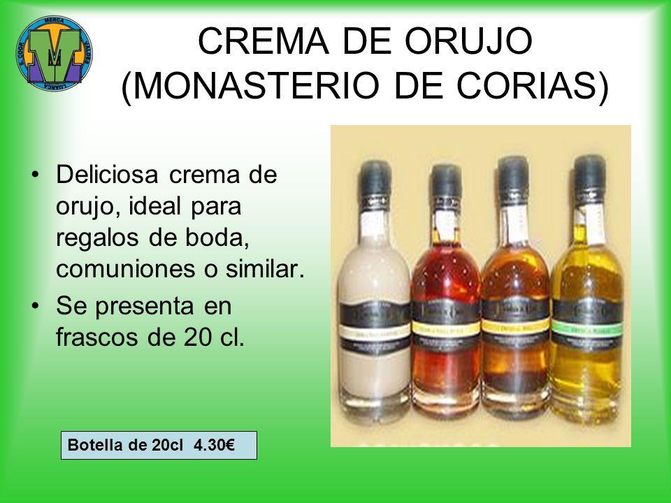 CREMA DE ORUJO (MONASTERIO DE CORIAS) Deliciosa crema de orujo, ideal para regalos de boda, comuniones o similar. Se presenta en frascos de 20 cl. Bot