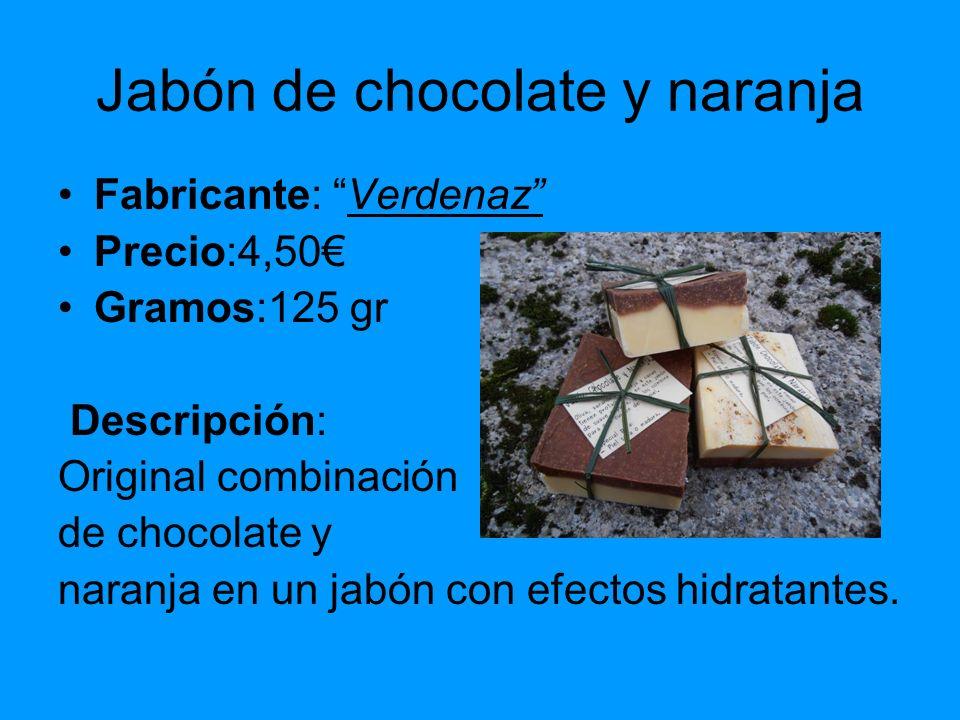 Jabón de chocolate y naranja Fabricante: Verdenaz Precio:4,50 Gramos:125 gr Descripción: Original combinación de chocolate y naranja en un jabón con e