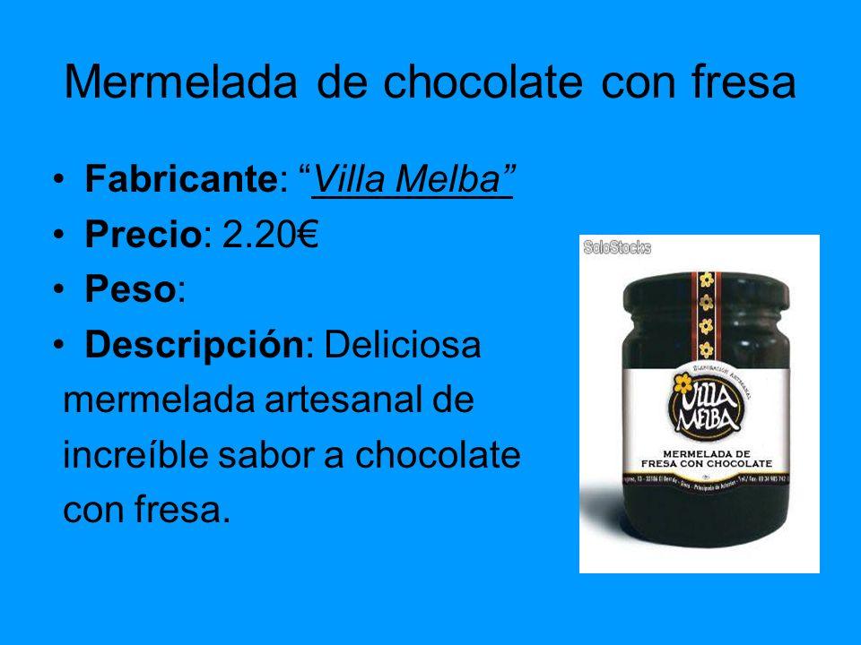 Mermelada de chocolate con fresa Fabricante: Villa Melba Precio: 2.20 Peso: Descripción: Deliciosa mermelada artesanal de increíble sabor a chocolate