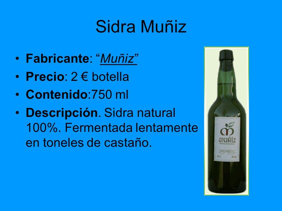 Sidra Muñiz Fabricante: Muñiz Precio: 2 botella Contenido:750 ml Descripción. Sidra natural 100%. Fermentada lentamente en toneles de castaño.