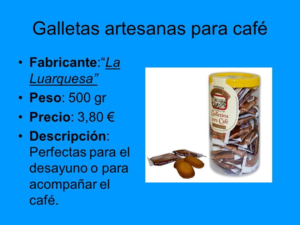 Galletas artesanas para café Fabricante:La Luarquesa Peso: 500 gr Precio: 3,80 Descripción: Perfectas para el desayuno o para acompañar el café.