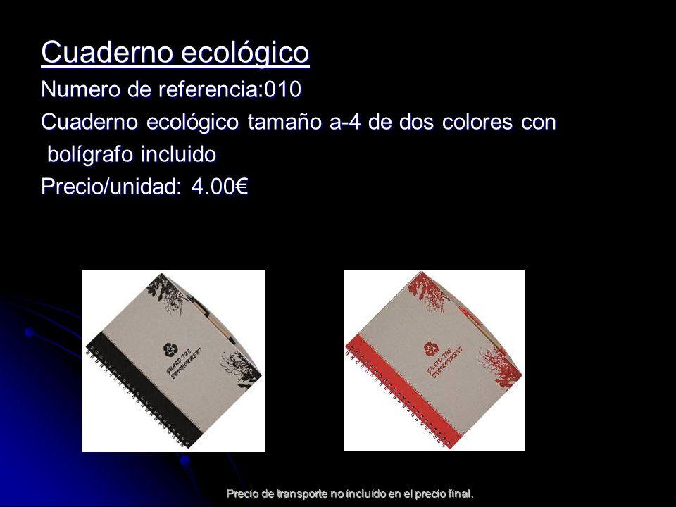 Precio de transporte no incluido en el precio final. Cuaderno ecológico Numero de referencia:010 Cuaderno ecológico tamaño a-4 de dos colores con bolí