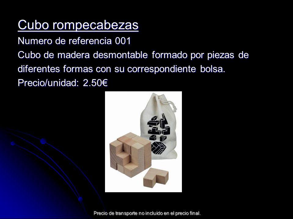 Cubo rompecabezas Numero de referencia 001 Cubo de madera desmontable formado por piezas de diferentes formas con su correspondiente bolsa. Precio/uni