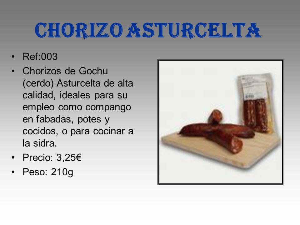 CHORIZO ASTURCELTA Ref:003 Chorizos de Gochu (cerdo) Asturcelta de alta calidad, ideales para su empleo como compango en fabadas, potes y cocidos, o p