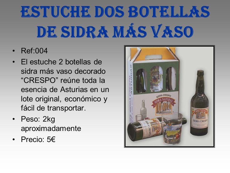 Estuche dos botellas de sidra más vaso Ref:004 El estuche 2 botellas de sidra más vaso decorado CRESPO reúne toda la esencia de Asturias en un lote or