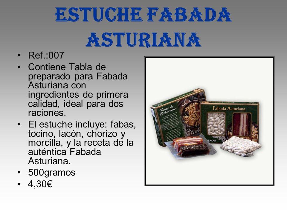 Estuche fabada asturiana Ref.:007 Contiene Tabla de preparado para Fabada Asturiana con ingredientes de primera calidad, ideal para dos raciones. El e