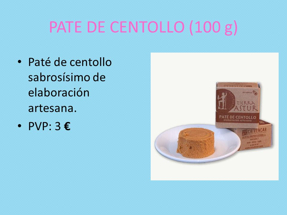 PATE DE CENTOLLO (100 g) Paté de centollo sabrosísimo de elaboración artesana. PVP: 3