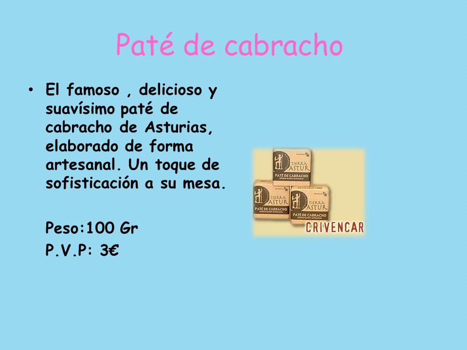 Paté de cabracho El famoso, delicioso y suavísimo paté de cabracho de Asturias, elaborado de forma artesanal. Un toque de sofisticación a su mesa. Pes