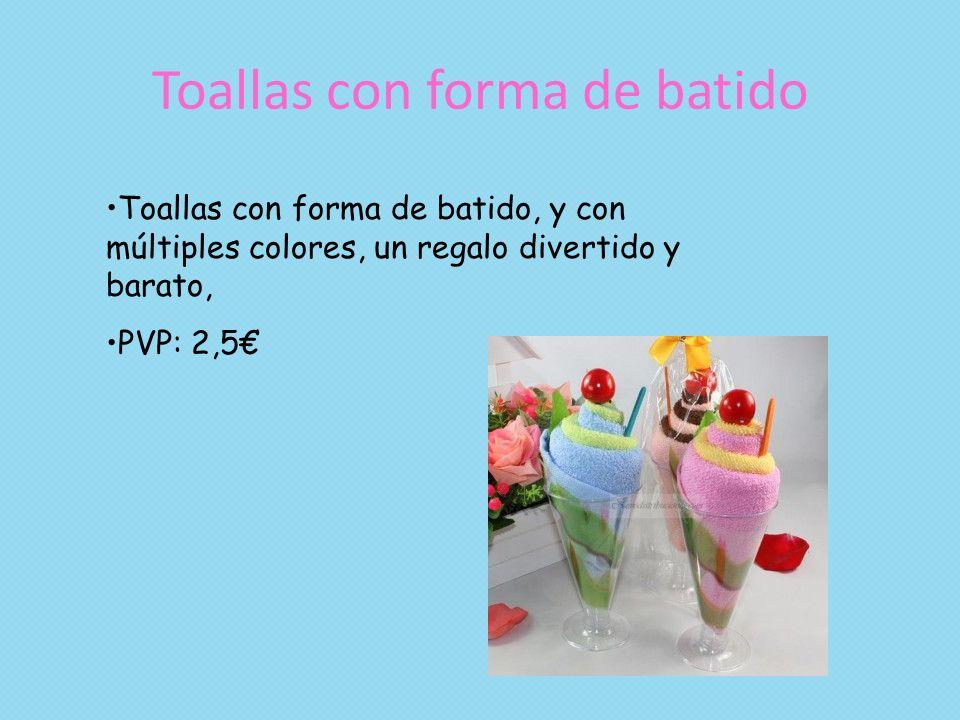 Toallas con forma de batido Toallas con forma de batido, y con múltiples colores, un regalo divertido y barato, PVP: 2,5