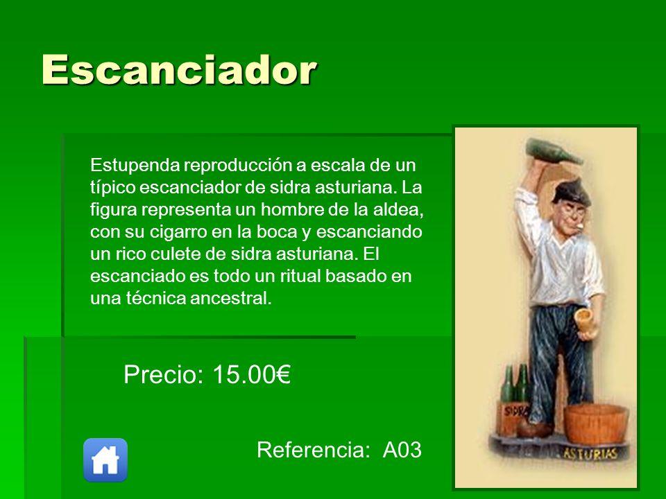 Escanciador Referencia: A03 Precio: 15.00 Estupenda reproducción a escala de un típico escanciador de sidra asturiana. La figura representa un hombre