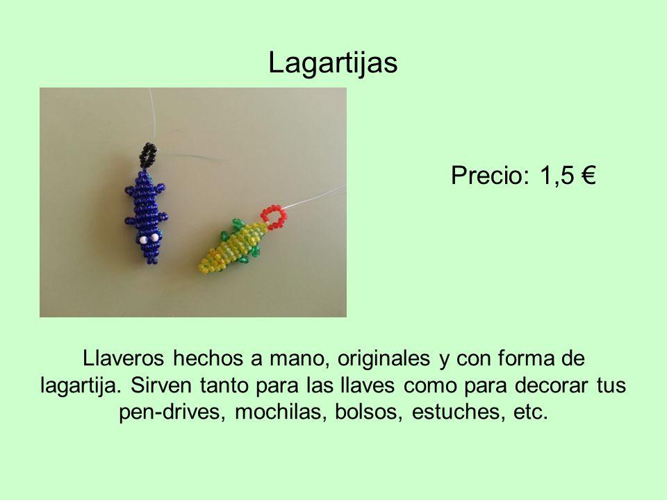 Llaveros hechos a mano, originales y con forma de lagartija. Sirven tanto para las llaves como para decorar tus pen-drives, mochilas, bolsos, estuches