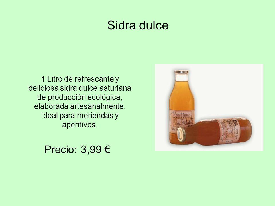 Sidra dulce 1 Litro de refrescante y deliciosa sidra dulce asturiana de producción ecológica, elaborada artesanalmente. Ideal para meriendas y aperiti