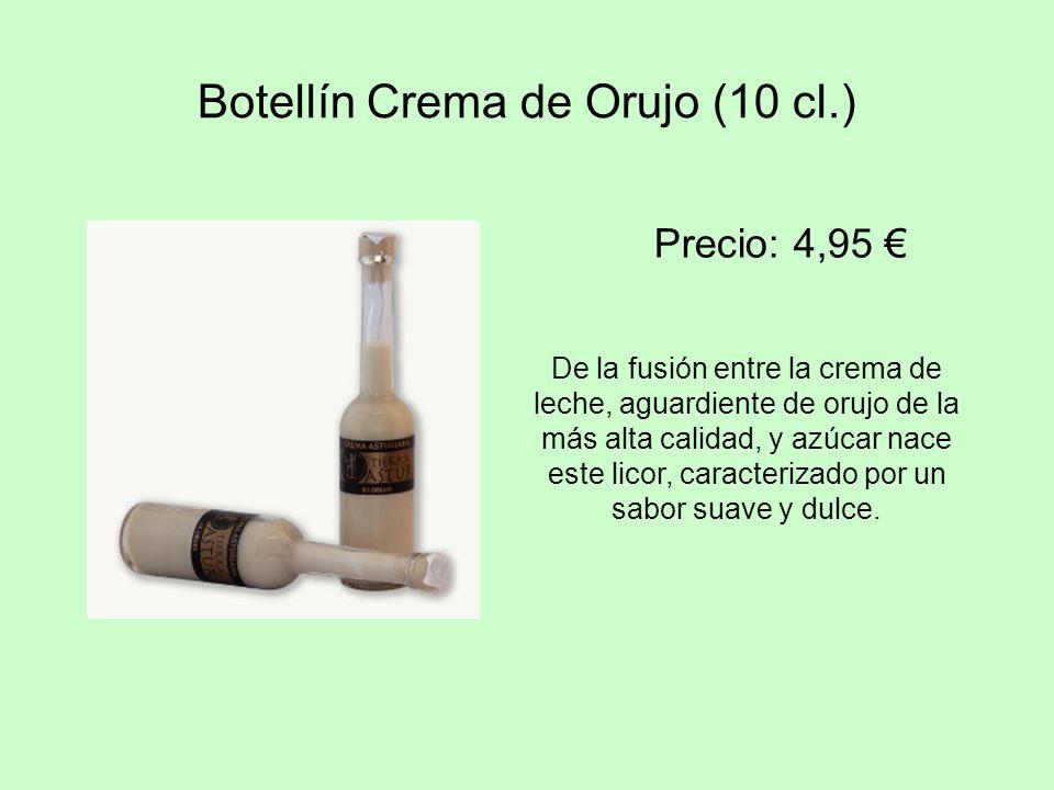 Botellín Crema de Orujo (10 cl.) De la fusión entre la crema de leche, aguardiente de orujo de la más alta calidad, y azúcar nace este licor, caracter