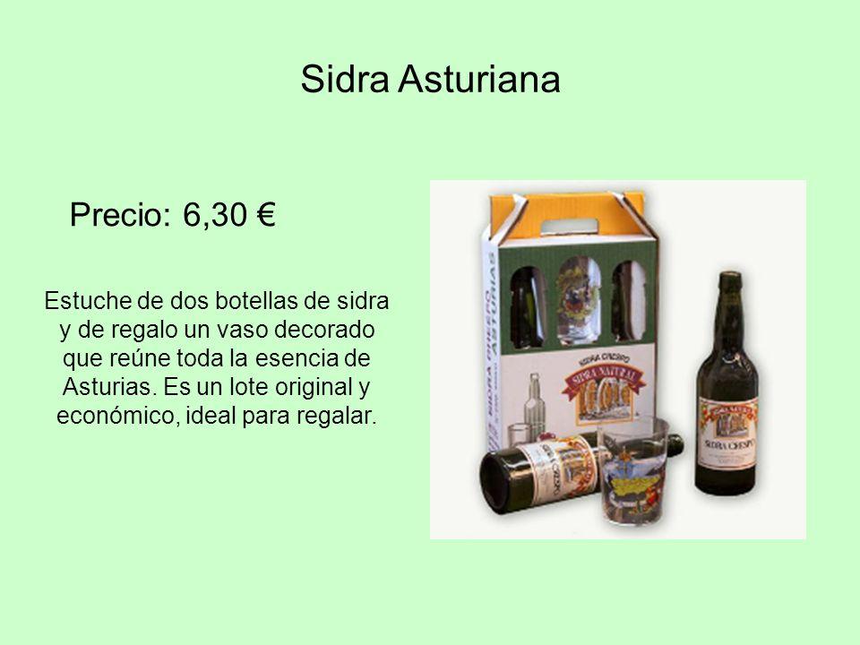 Precio: 6,30 Sidra Asturiana Estuche de dos botellas de sidra y de regalo un vaso decorado que reúne toda la esencia de Asturias. Es un lote original