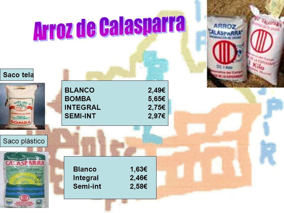 BLANCO2,49 BOMBA5,65 INTEGRAL2,75 SEMI-INT2,97 Saco tela Saco plástico Blanco1,63 Integral2,46 Semi-int2,58