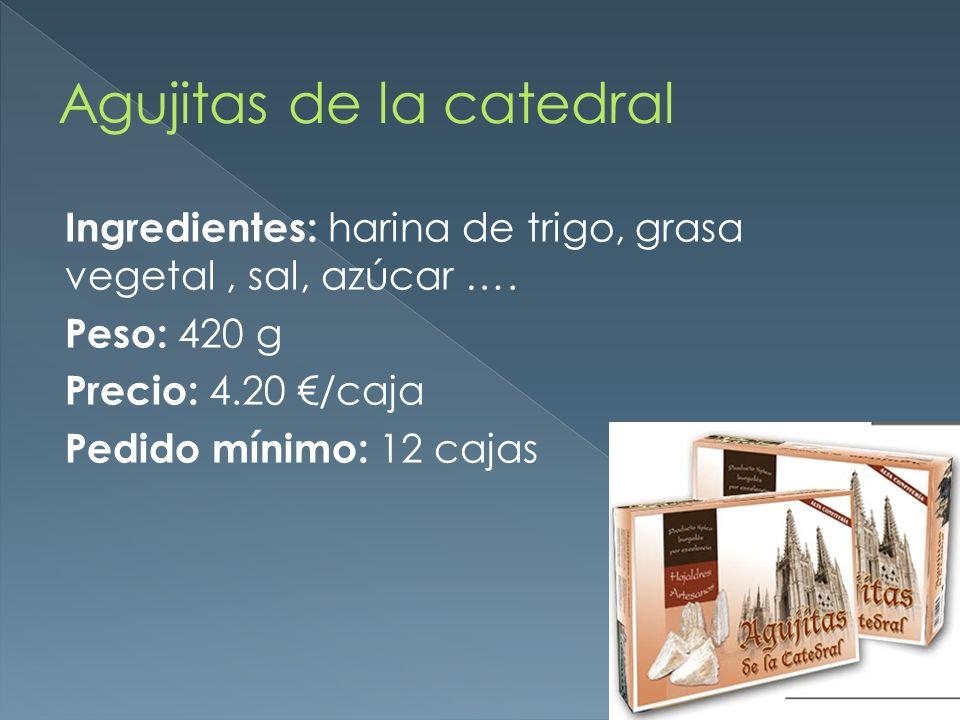 Ingredientes: harina de trigo, grasa vegetal, sal, azúcar …. Peso: 420 g Precio: 4.20 /caja Pedido mínimo: 12 cajas