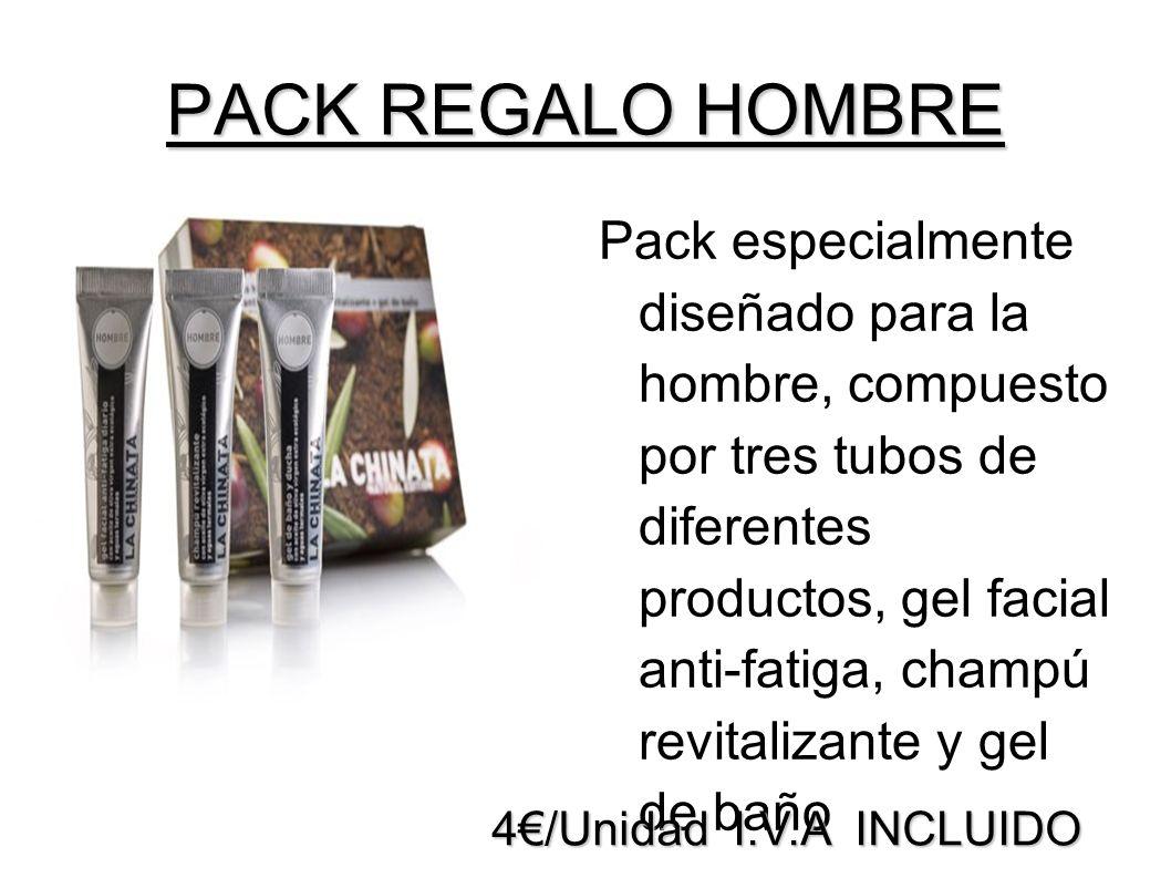 PACK REGALO HOMBRE Pack especialmente diseñado para la hombre, compuesto por tres tubos de diferentes productos, gel facial anti-fatiga, champú revita