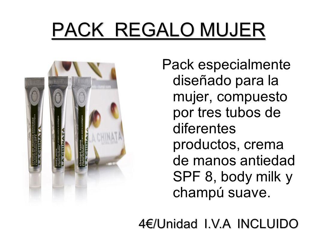 4/Unidad I.V.A INCLUIDO PACK REGALO MUJER Pack especialmente diseñado para la mujer, compuesto por tres tubos de diferentes productos, crema de manos