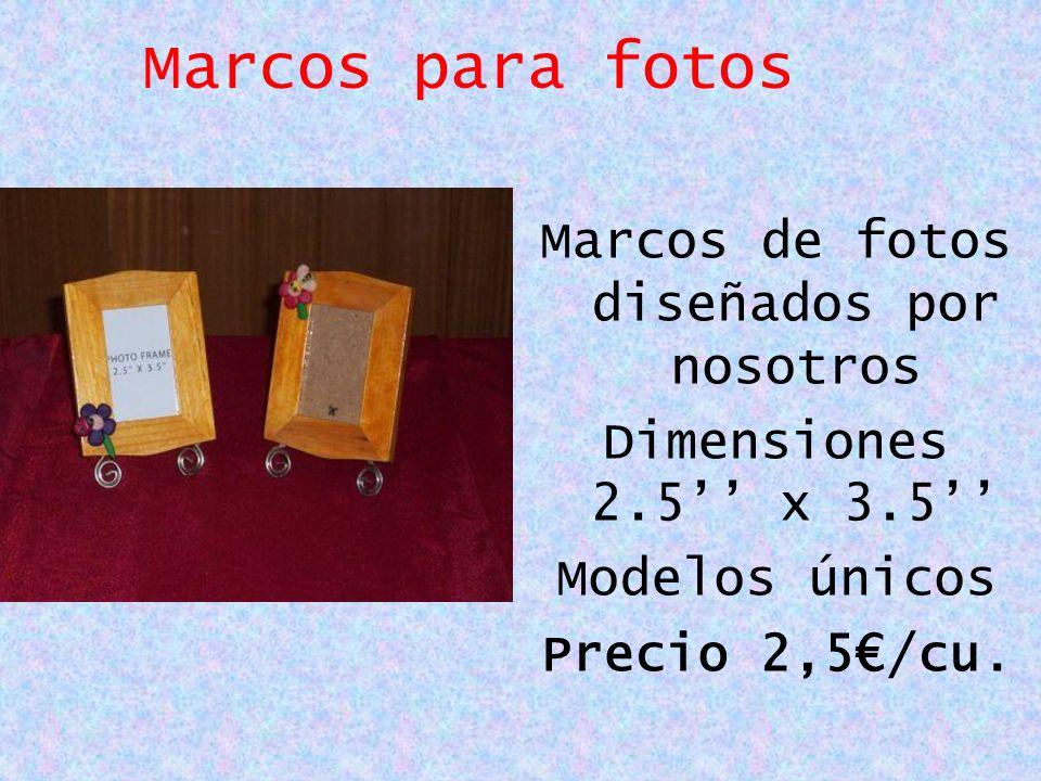 Marcos para fotos Marcos de fotos diseñados por nosotros Dimensiones 2.5 x 3.5 Modelos únicos Precio 2,5/cu.