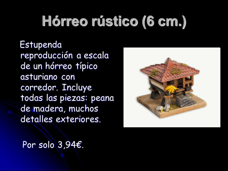 Hórreo rústico (6 cm.) Estupenda reproducción a escala de un hórreo típico asturiano con corredor. Incluye todas las piezas: peana de madera, muchos d