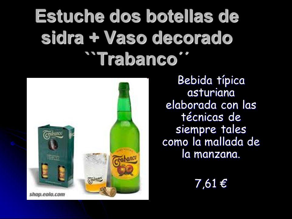 Estuche dos botellas de sidra + Vaso decorado ``Trabanco´´ Bebida típica asturiana elaborada con las técnicas de siempre tales como la mallada de la m