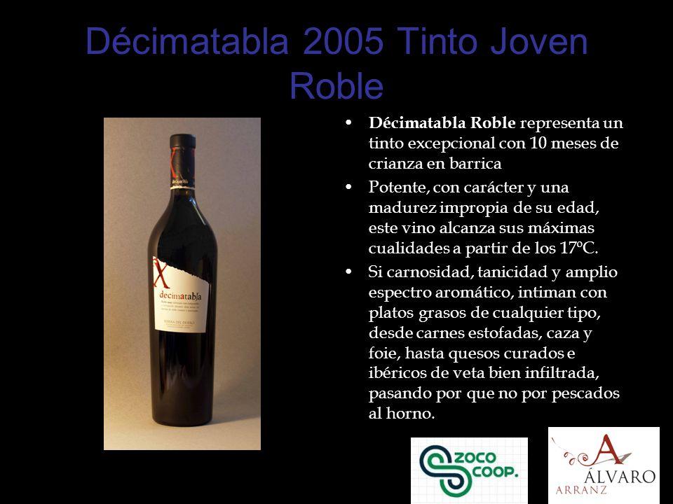 Décimatabla 2005 Tinto Joven Roble Décimatabla Roble representa un tinto excepcional con 10 meses de crianza en barrica Potente, con carácter y una madurez impropia de su edad, este vino alcanza sus máximas cualidades a partir de los 17ºC.
