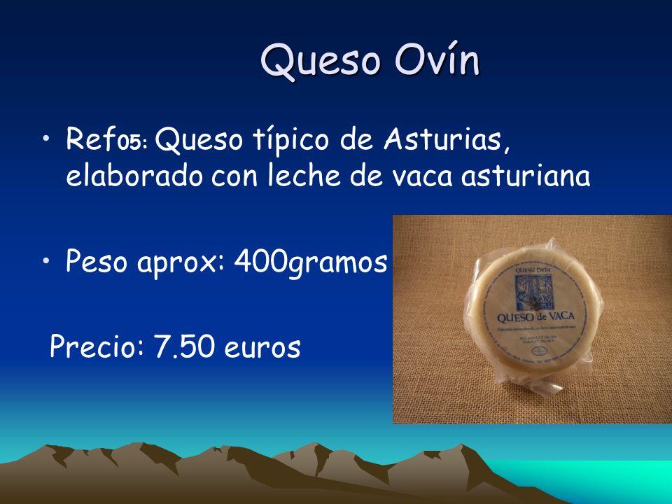 Queso Ovín Ref 05: Queso típico de Asturias, elaborado con leche de vaca asturiana Peso aprox: 400gramos Precio: 7.50 euros