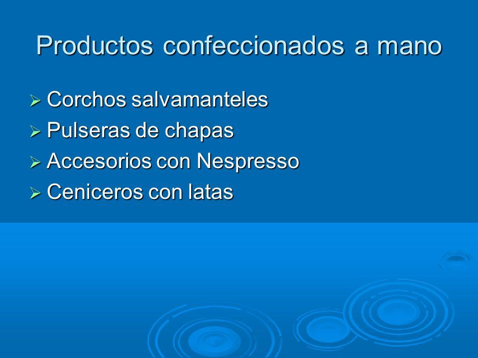 Productos confeccionados a mano Corchos salvamanteles Corchos salvamanteles Pulseras de chapas Pulseras de chapas Accesorios con Nespresso Accesorios