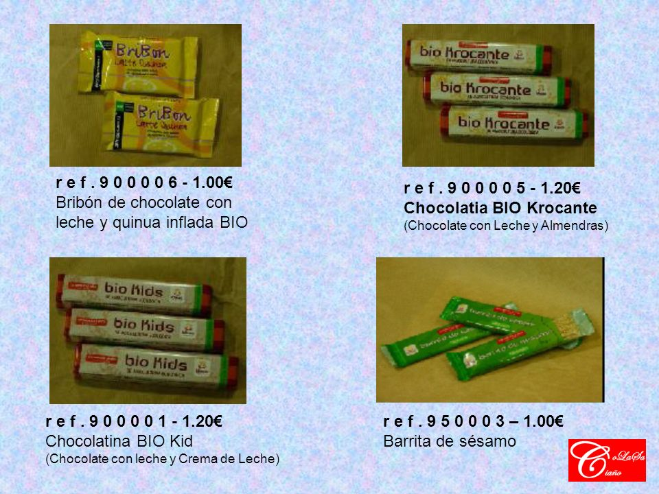 r e f. 9 0 0 0 0 6 - 1.00 Bribón de chocolate con leche y quinua inflada BIO r e f.