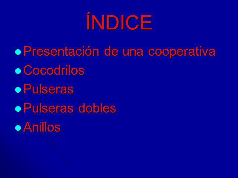 ÍNDICE Presentación de una cooperativa Presentación de una cooperativa Cocodrilos Cocodrilos Pulseras Pulseras Pulseras dobles Pulseras dobles Anillos