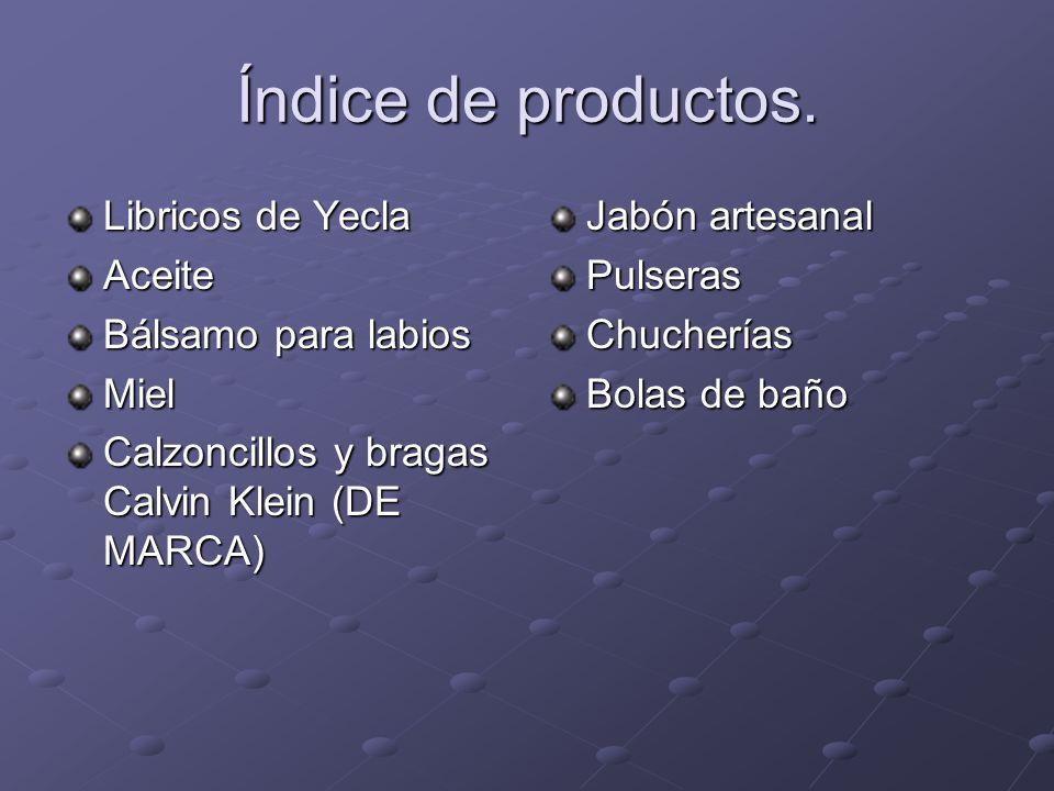 Índice de productos.