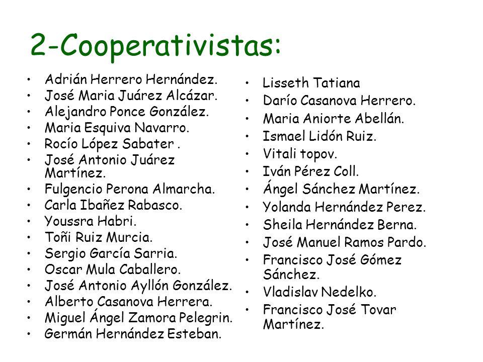 2-Cooperativistas: Adrián Herrero Hernández. José Maria Juárez Alcázar. Alejandro Ponce González. Maria Esquiva Navarro. Rocío López Sabater. José Ant