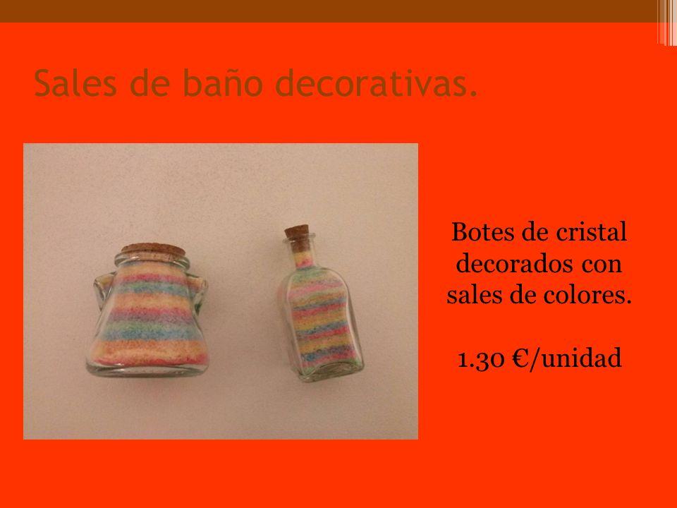 Sales de baño decorativas. Botes de cristal decorados con sales de colores. 1.30 /unidad