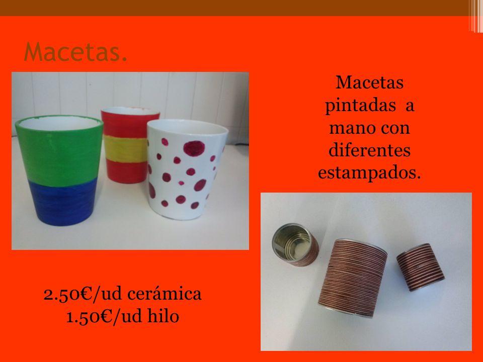Macetas. Macetas pintadas a mano con diferentes estampados. 2.50/ud cerámica 1.50/ud hilo