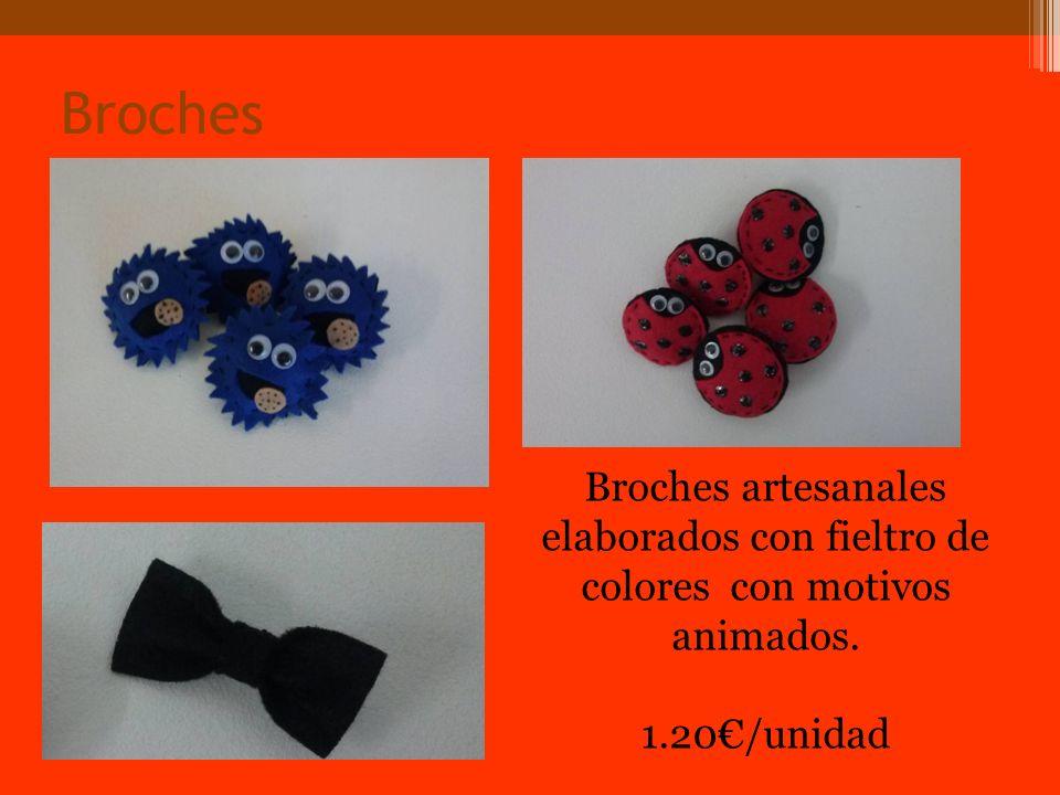 Broches Broches artesanales elaborados con fieltro de colores con motivos animados. 1.20/unidad