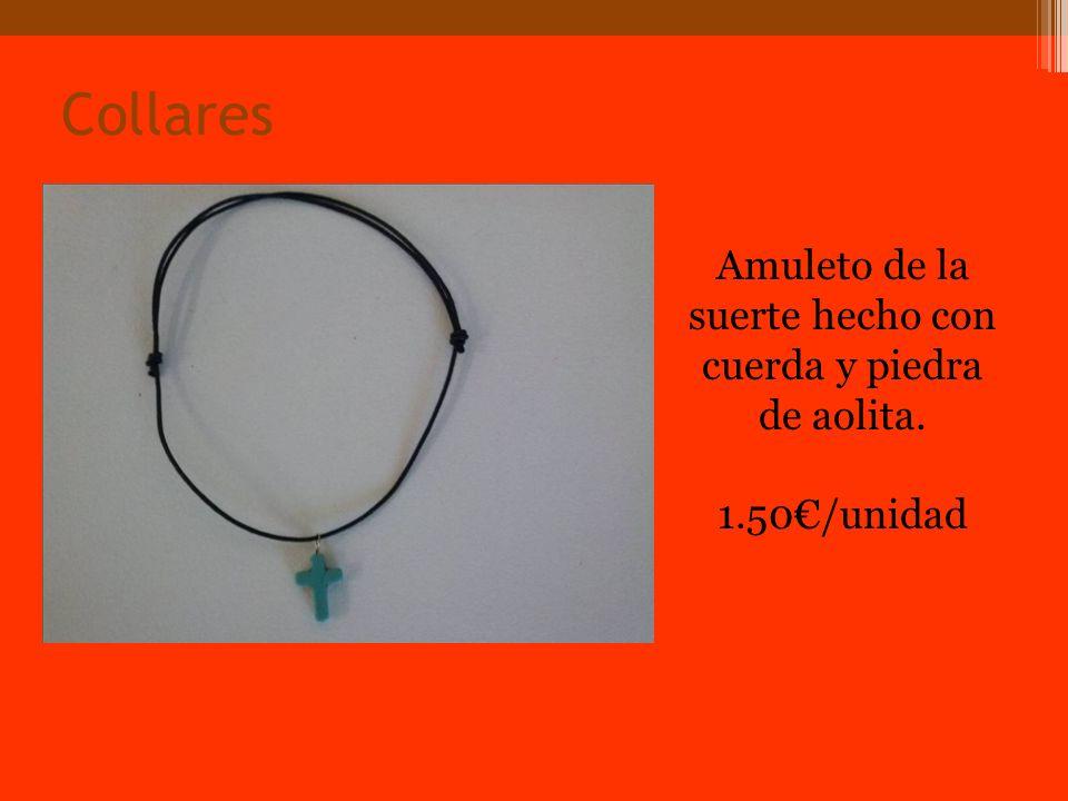 Collares Amuleto de la suerte hecho con cuerda y piedra de aolita. 1.50/unidad