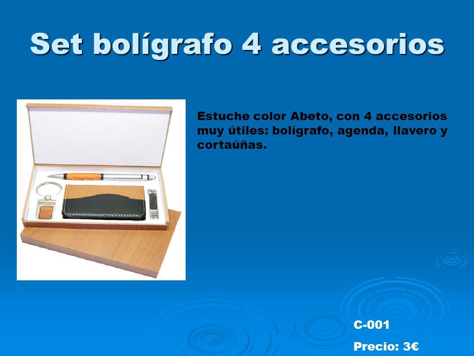 Set bolígrafo 4 accesorios Estuche color Abeto, con 4 accesorios muy útiles: bolígrafo, agenda, llavero y cortaúñas.