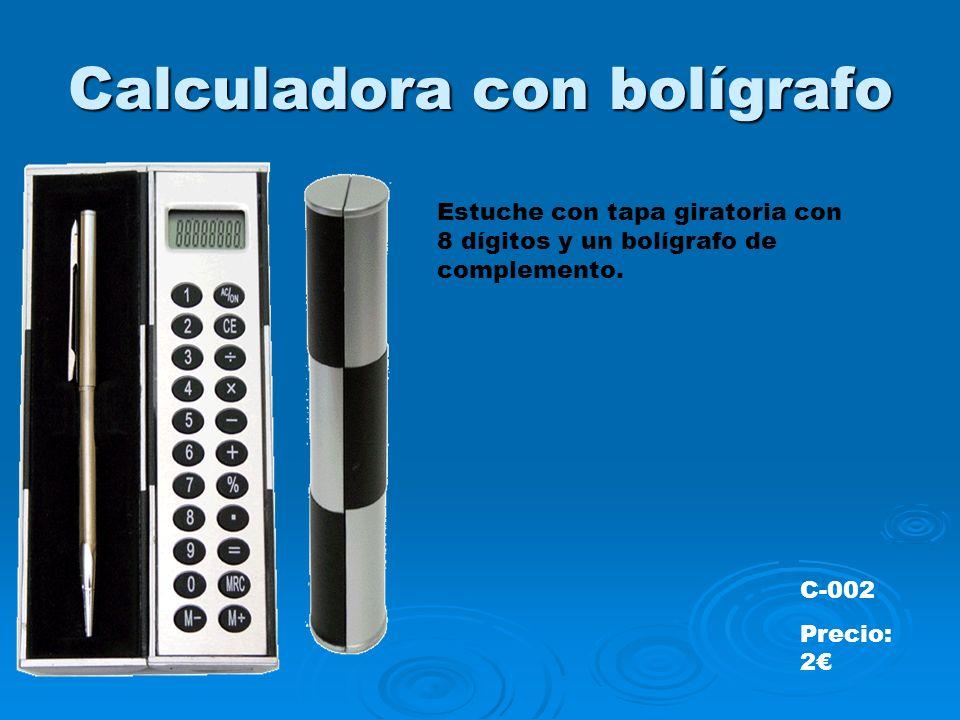 Calculadora con bolígrafo Estuche con tapa giratoria con 8 dígitos y un bolígrafo de complemento.