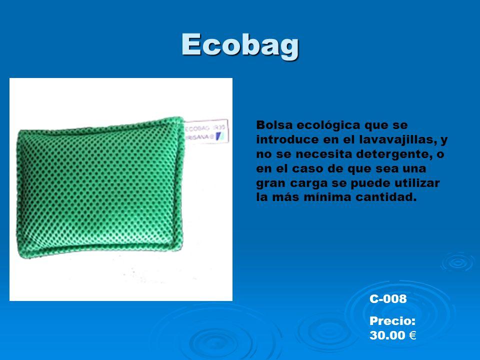 Ecobag Bolsa ecológica que se introduce en el lavavajillas, y no se necesita detergente, o en el caso de que sea una gran carga se puede utilizar la más mínima cantidad.