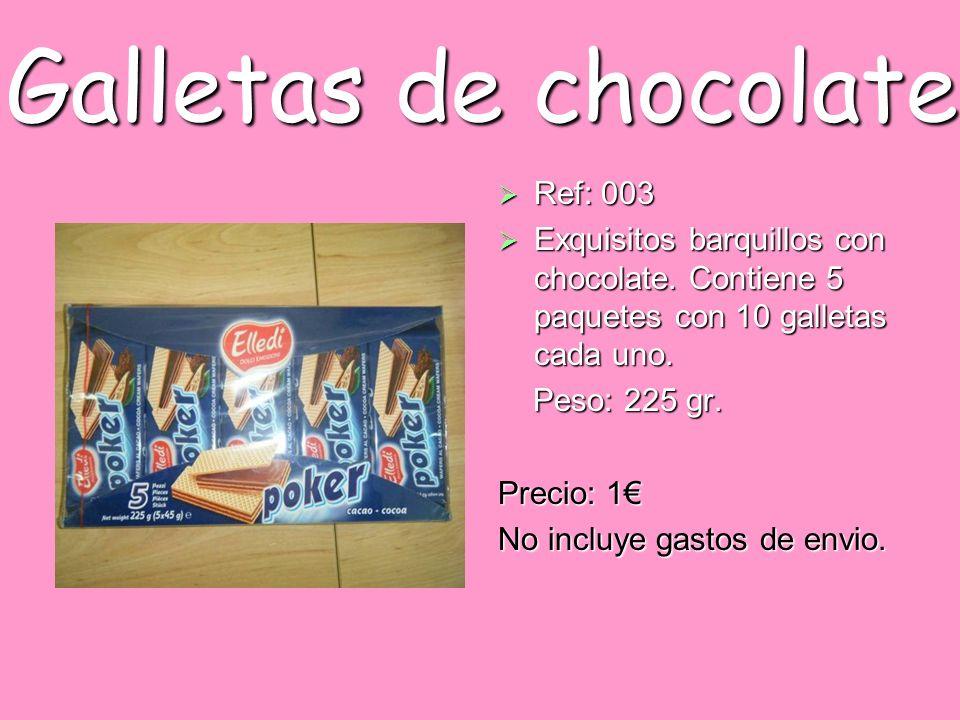 Galletas de chocolate Ref: 003 Ref: 003 Exquisitos barquillos con chocolate. Contiene 5 paquetes con 10 galletas cada uno. Exquisitos barquillos con c