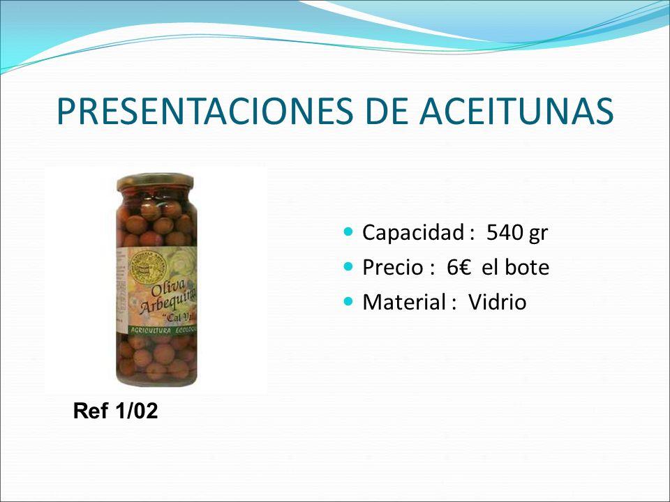 PRESENTACIONES DE ACEITUNAS Capacidad : 540 gr Precio : 6 el bote Material : Vidrio Ref 1/02